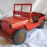 VINTAGE 1950'S MARX LUMAR V.F.D. WILLY'S JEEP 1950'S TOY
