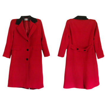 Red Wool Coat Long Wool Coat Women Winter Coat Wool Winter Coat Ladies Winter Coat Petite Clothing Red and Black Women Wool Coat Outerwear