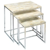 Jamie Young Faux Horn White Nesting Table Set