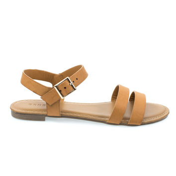 Inspire49M Tan By Bamboo, Mid Tan Women Flat Sandal w Double Front Strap & Ankle Strap