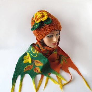 Slouchy Knitted hat and felted scarf collar set - orange green lemon pumpkin halloween
