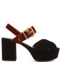 Bi-colour velvet platform sandals | Prada | MATCHESFASHION.COM US