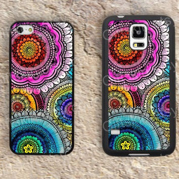 Colorful flower drawing case iphone 4 4s iphone  5 5s iphone 5c case samsung galaxy s3 s4 case s5 galaxy note2 note3 case cover skin 184