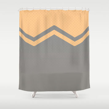 Peach and Grey Chevron Shower Curtain by Kat Mun