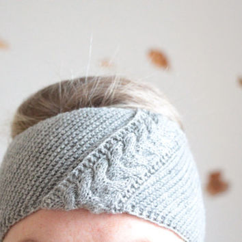Grey Knitting winter headband Knit and Crochet Headband Earwarmer Knitting turban Gray Knit headband Womens Winter Headband For girl