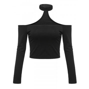 New Women Sexy Slash Neck Long Sleeve Off Shoulder Hater Choker Crop Tops