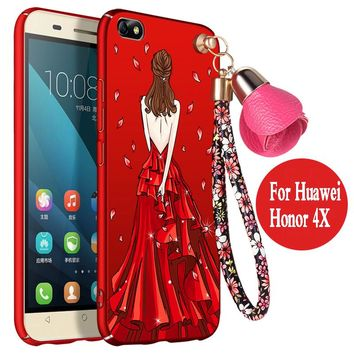 For huawei honor 4x case Hard 3D cartoon Che2-l11 luxury funda protector mobile phone shell for huawei honor 4x cover anime girl