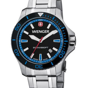 Wenger Mens Sea Force Dive Watch - Stainless Steel - Blue Accents - Bracelet