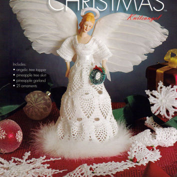 21 Christmas Ornaments Crochet Pattern eBook Knite Angel Pineapple Tree Skirt Topper Pineapple Garland FREE SHIPPING - COAA21o