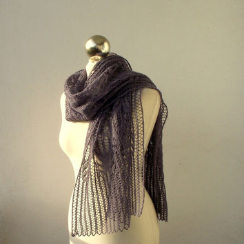 Greyish Purple hand knitted lace scarf with Frost Flowers pattern