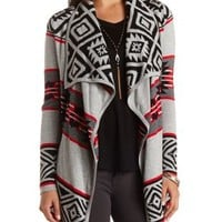 Aztec Cascade Cardigan Sweater by Charlotte Russe - Med Gray Combo
