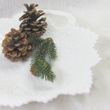 Vintage Milk Glass Plate Serving Tray White Autumn Leaf Candy Dish 1940 Milk Glass Maple Leaf Dish Kitchen Dining Room Decor Centerpiece