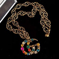 GUCCI Trending Women Stylish Retro Colorful Diamond Brooch Earrings Bracelet Necklace Accessories Jewelry