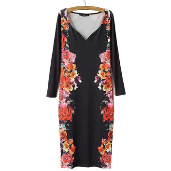 Women sexy v neck low cut Bodycon Dresses floral long sleeve stretchable Vestidos femininos casual slim fit sheath dress QZ2260