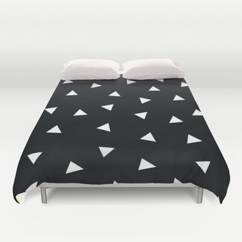 Black and White Duvet Cover - Black and White Modern Bedding - Triangles Duvet Cover - Kids Bedding - Girls Bedding - Geometric Duvet Cover