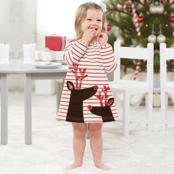 Baby New Christmas dress girls Santa Claus cotton Long sleeve patchwork girl clothes Lace princess dress Christmas girl Clothes