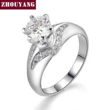 Silver Color Cubic Zirconia Bijoux Fashion Design 6 Prong Sparkling Wedding &Engagement Ring Jewelry For Women ZYR525