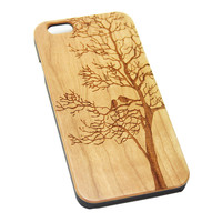 Loving Birds on Tree Wood Engraved iPhone 6s Case iPhone 6 Case iPhone 6s 6 Plus Cover Natural Wooden iPhone 5s 5 Case Samsung Galaxy S6 S5 Case D103