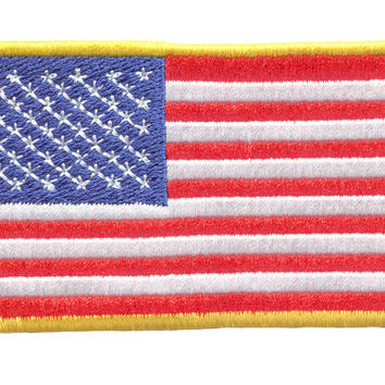 USA American Flag Embroidered Patch Badge for Cap Hat Shirt Patriot 10cm x 6.5cm