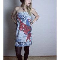 SPIDERMAN Pillow Case Dress Marvel COMIC Strapless Red Blue Handmade