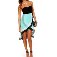 BlackWhiteTeal Hi Lo Dress