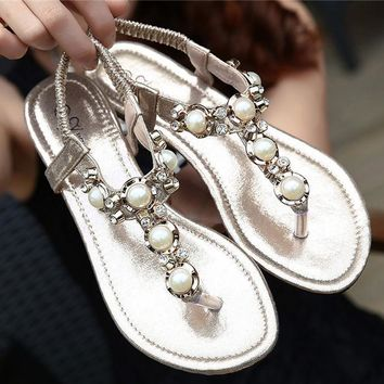 Women Casual Fashion Diamond Pearl Flats Shoes Sandals