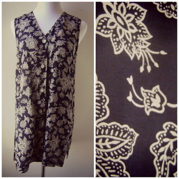 80s Boho Floral Long Cardigan Navy Blue Rayon Vest Hippie Vest Boho Vest Long Floral Vest Oversized Button Down Tank Top Festival Blouse