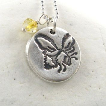 Silver Bee Necklace Citrine Necklace Sterling Silver Bee Jewelry PMC Eco Friendly Necklace Under 50 Hand Stamped Artisan Pendant