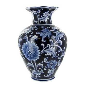 "10"" Blue & White Porcelain Vase 