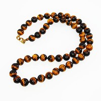Tiger Eye Beaded Necklace, Matinee Length Hand Knotted Black and Golden Brown Gemstone Beads, Gold Tone Clasp, Vintage 1960s 1970s BOHO