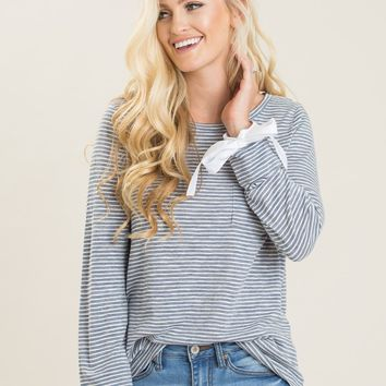 Carrie Blue Stripe Bow Sleeve Top