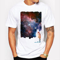 fashion short sleeve repainted galaxy t-shirt Men's funny tee shirts cool tops