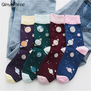 New Cute Women Harajuku Novelty Soft Warm Tube Socks funny Jacquard Creative Cartoon Space Planet Starry sky Patterned Art Socks
