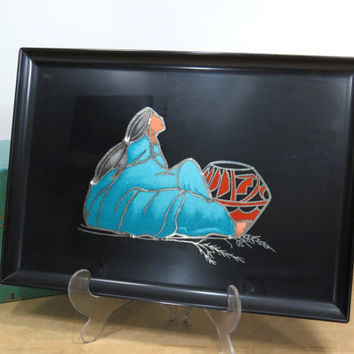 Rare Couroc Tray Native American Woman With Turquoise Blanket and Coral Pottery . Gorgeous Color . Elegant Design . Vintage Couroc