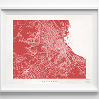 Palermo, Italy, Print, Map, Poster, State, City, Street Map, Art, Decor, Town, Illustration, Room, Wall Art, Customize, Dorm, Living Room