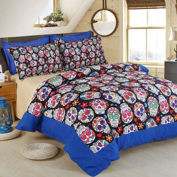 3D Skull Halloween Bedding Set Skull Home Textile Bedspread Queen Size Bed Duvet Cover set Luxury King Bedding Sets Bed Sheet