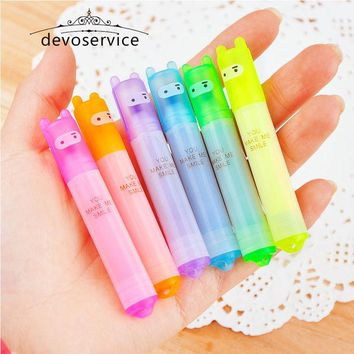 DCCKL72 6PCS/Set Rabbit Mini Highlighter Pen Marker Pens Kawaii Stationery Material Escolar Papelaria Writing School Supplies