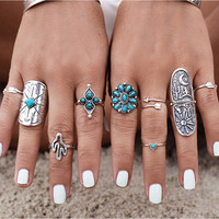 9pc/set Vintage Bohemian Beach Turquoise Ring Set Ethnic Style Antique Silver Plated Midi Finger Boho Rings Set Charm Anelli