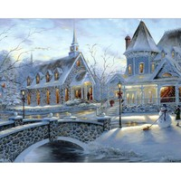 ArtSailing diy paintings by numbers church in snow Scenery wall art coloring picture by numbers on canvas for the hall NP-235
