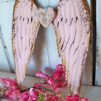 Metal angel wings pink rusty with heart shabby chic cottage wall decor sculpture home decor Anita Spero