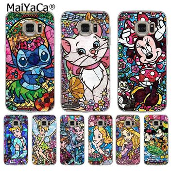 MaiYaCa fairy tale stained Alice Stitch Mickey Mouse Marie Cat Phone Case  for Samsung S5 S6 S7 Edge S8 Plus S6 Edge Plus S3 S4