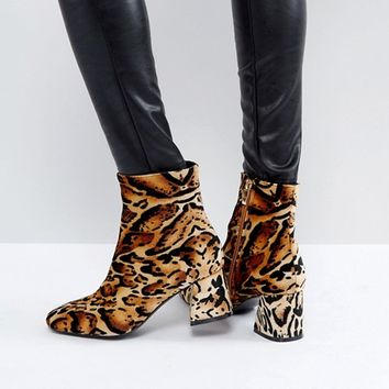 PrettyLittleThing Leopard Print Block Heeled Boot at asos.com