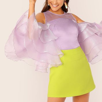 Cold Shoulder Layered Ruffle Sleeve Satin Top