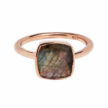 Small Square Rose Gold Bezel Ring