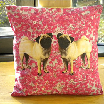 Pink Sequins Pug pillow cover
