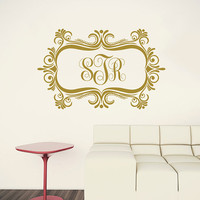 Wall Decal Monogram Vinyl Lettering Sticker Personalized Initial Custom Decals Family Decor Frame Wall Decals Nursery Bedroom Decor AN753