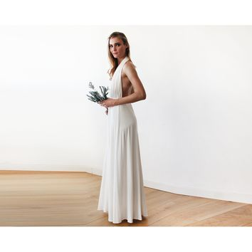 Ivory bridal halter-neck maxi dress 1070