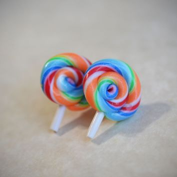 Lollipop Stud Earrings - Polymer Clay Post Food Earrings