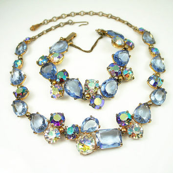 Vintage Schiaparelli Necklace Bracelet Blue Rhinestone Jewelry Set