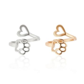 New Fashion Women Girl Cute Simple Metal Love Heart Cat Dog Foot Open Adjustable Rings Animal Style Hollow Paw Ring Jewelry